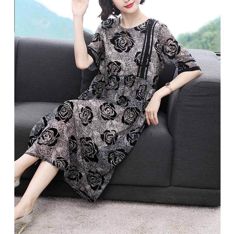 Loose And Plus-sized Fat Mm Cover Belly Long Middle-aged WOMEN'S Dress Crew Neck Printed Chiffon Dress 2019 Summer New Style