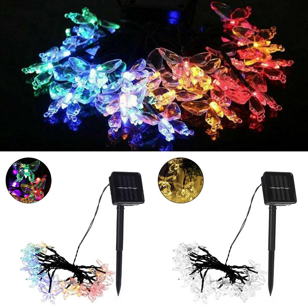 20 LED Solar Power Butterfly Fairy Lichterketten Gartenleuchte im Freien