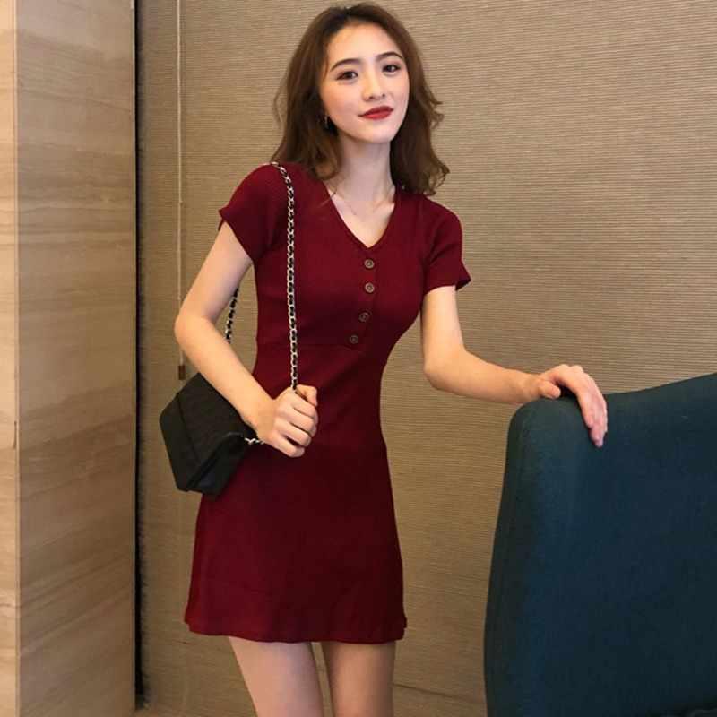 ผู้หญิงสั้นแขนสั้น V คอสูงเอวชุดปุ่ม Slim Fit A-Line ไวน์แดงผู้หญิงชุดมินิเซ็กซี่ T