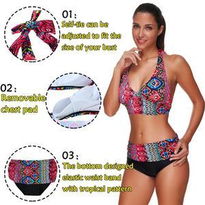 Image 2 - JOYMODE bañador con patrones tropicales para mujer, traje de baño Sexy con almohadilla de Bikini de ganchillo para playa