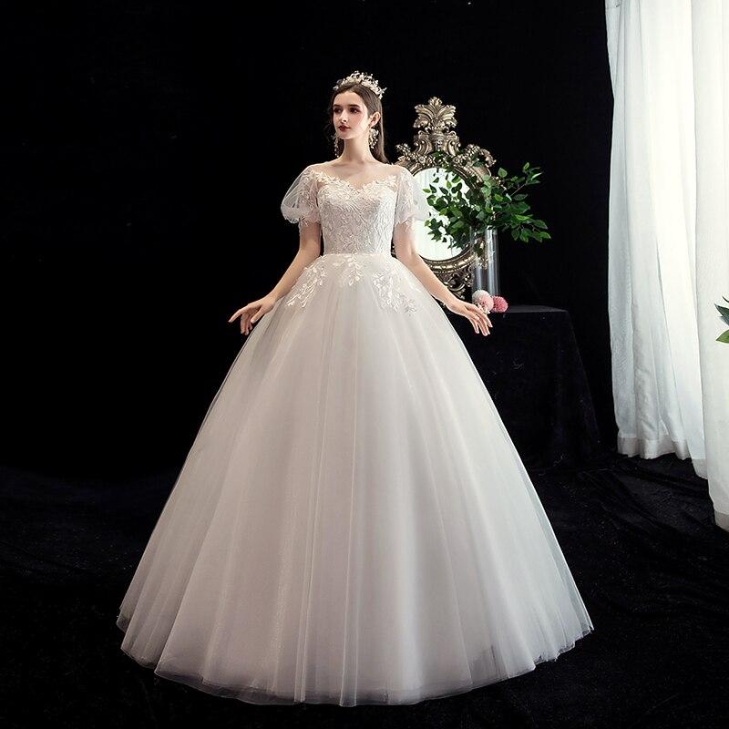 Mrs Win Wedding Dress Short Puff Sleeve O-neck Lace Up Ball Gown Princess Vintage Lace Wedding Dresses Custom Size Bride Dress