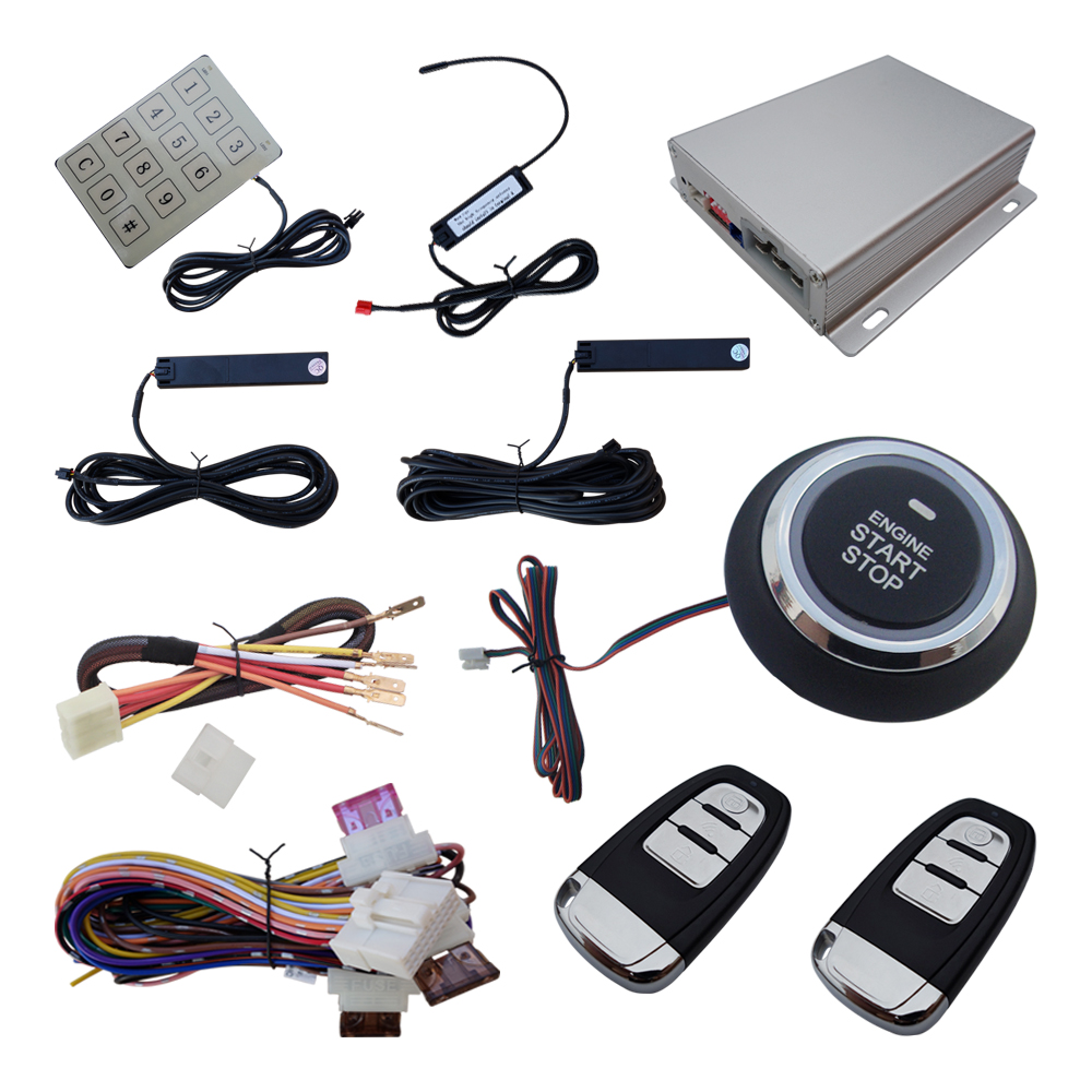 2020 Smart Car PKE Alarme Passive Keyless Entry with Remote Start Windows Rising Output Password Password Disarm for DC 12V Cars