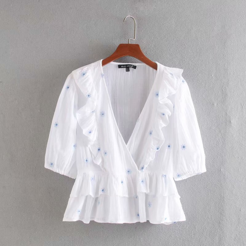 New 2020 Women V Neck Floral Embroidery Cascading Ruffles White Blouse Female Short Sleeve Kimono Shirts Chic Casual Tops LS6636