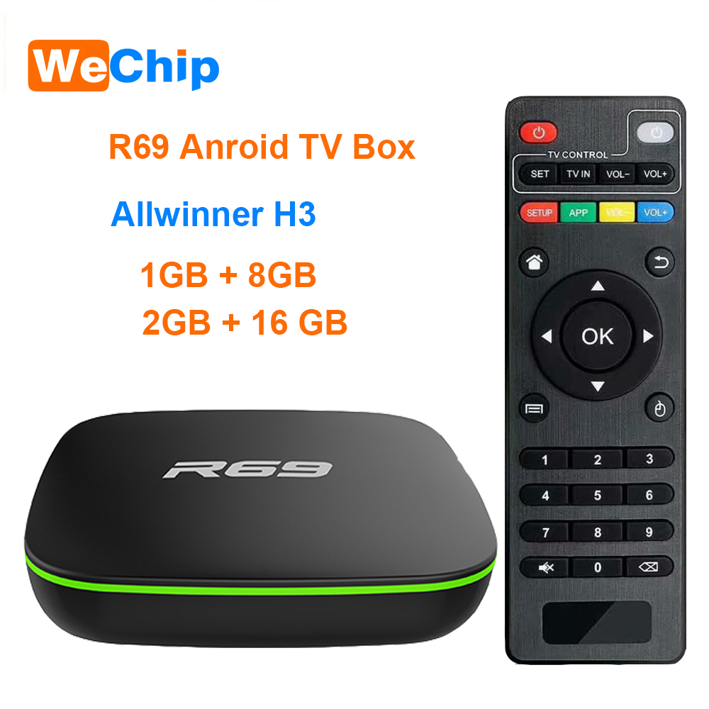 Wechip R69 Smart Android 7.1 TV Box 1GB 8GB Allwinner H3 Quad-Core 2.4G Wifi Set Top Box 1080P HD Support 3D Movie Media Player