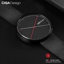Ciga Ontwerp X Serie Quartz Horloge Rvs Case Kalfsleer/Stalen Band Eenvoudige Sapphire Diamond Horloge