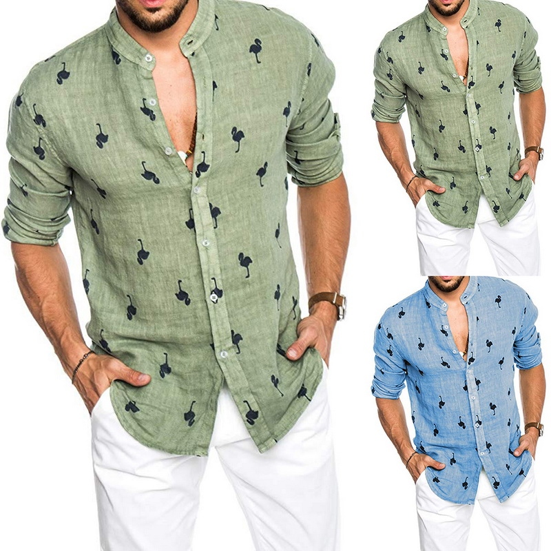 Men's Summer Casual Hawaiian Long Sleeve Shirt Flamingo Print Button Closure Chemise Slim Linen Breathable Shirt Blusa Masculina