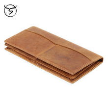 Genuine Leather wallet Breast Pocket Card Holder Purse Suit Long Wallet Checkbook for men