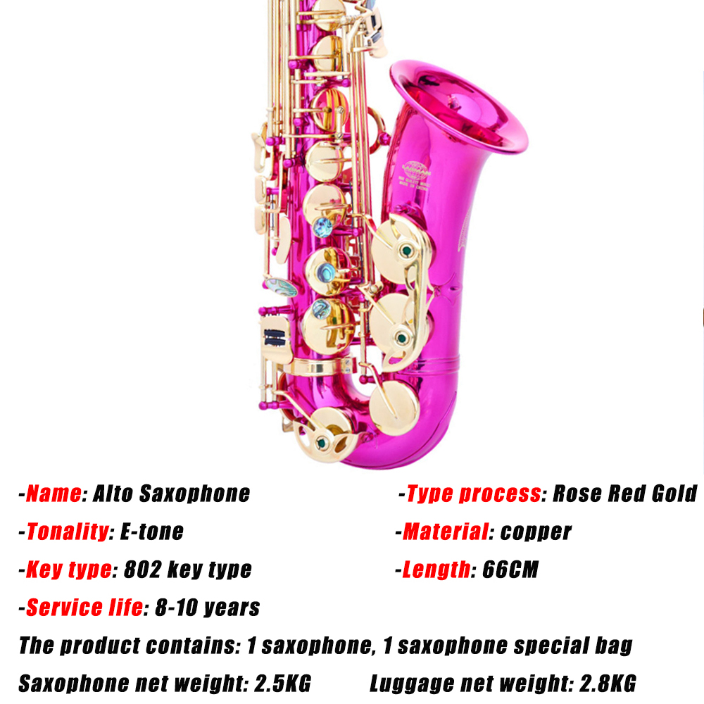 Hot Sale E flat Alto Saxophone 802 bond type Rose Red Gold Sax Playing Musical Instruments Brass Top Quality Saxofon Gift SAX07 - 2