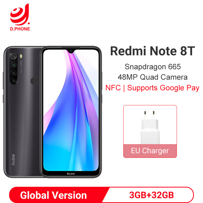 Global Version Xiaomi Redmi Note 8T 3GB 32GB Smartphone Snapdragon 665 Octa Core 48MP Quad Camera 4000mAh NFC Mobile Phone