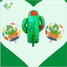 YHZNXH Cross-Border Explosion Cactus Balloon Tropical Party Decoration Aluminium Balloon Balloon Mexico Party Balloon Set