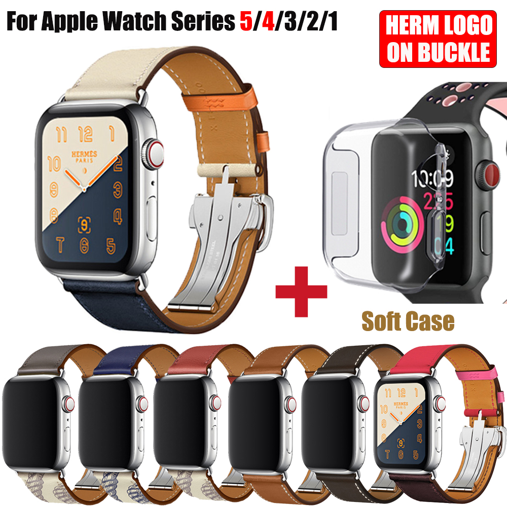 Ebene Barenia Leather Single Tour Deployment Buckle For IWatch 5 4 3 2 Bands 44MM 40MM Herm Watchband With Herm Logo Apple Watch