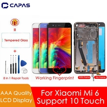 For Xiaomi Mi 6 LCD Screen + Frame + Fingerprint Sensor For Xiaomi Mi6 Display 10 Touch Screen Assembly Replacement Repair Parts