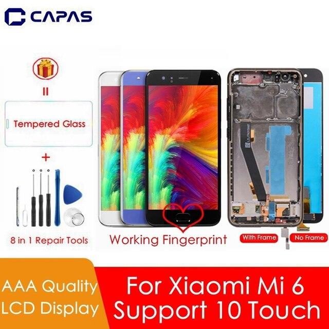 עבור שיאו mi mi 6 LCD מסך + מסגרת + טביעות אצבע חיישן עבור שיאו mi mi 6 תצוגת 10 מגע מסך עצרת החלפת חלקי תיקון
