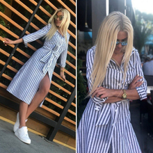 Women Vintage Sashes Blue Striped A-line Party Dress Three Quarter Sleeve Turn Down Collar Casual 2019 Summer