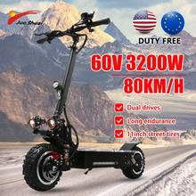 80KM/H Electric Scooter 3200W Dual Motor 11inch fat tyre 60V Off Road big wheel Seats adult hoverboard patin electrico potente