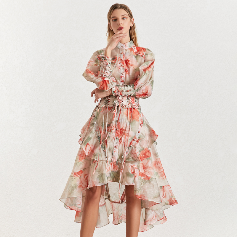 Image 2 - TWOTINSTYLE Vintage Print Women's Dress Stand Collar Lantern Sleeves Bandages High Waist Asymmetrical Print Dresses Female 2019-in Dresses from Women's Clothing