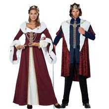 Новинка одежда для косплея на Хэллоуин пар королева короля европейский