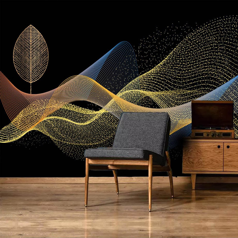 Custom Photo Wall Paper 3D Golden Leaves Abstract Smoke Wall Painting Creative Hotel Bedroom Bedside Living Room Mural Wallpaper