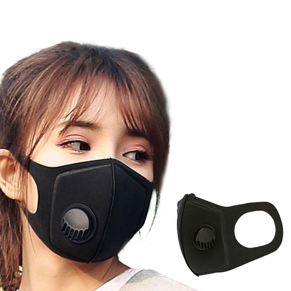 5pcs Men Women Anti Dust Mask Anti PM2.5 Pollution Face Mouth Respirator Black Breathable Valve Mask Filter 3D Mouth Cover