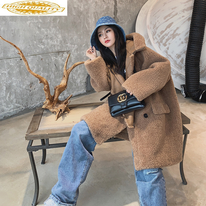 Sheep Shearling Fur Coat Female Hooded Long Coat 2020 Winter Jacket Women Real Wool Coats Suede Liner Abrigo Mujer MY