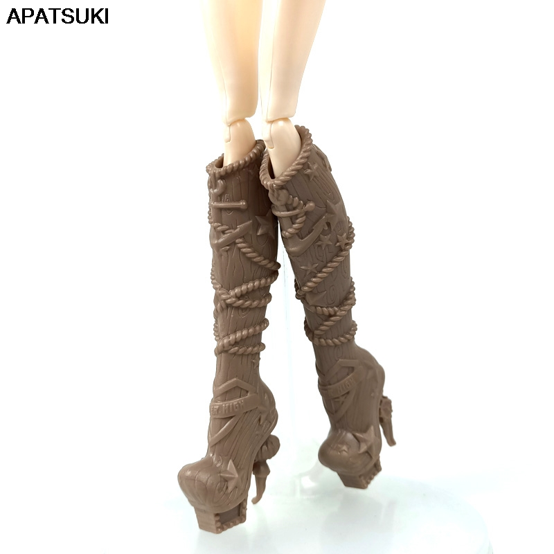 Brown Star Fashion Doll Shoes For Monster High Doll High-heel Boots For Ever After High 1/6 Monster Dolls Accessories