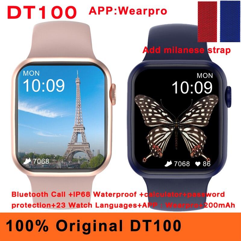 Оригинальные Смарт-часы 2021 DT100 для женщин и мужчин, Bluetooth, калькулятор вызовов, защита паролем, IP68, водонепроницаемые, 1,75 дюйма, Смарт-часы