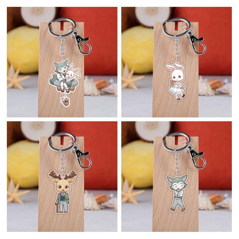 Anime BEASTARS Legosi Spring Haru Cosplay Accessories Louis Cute Animal Pendant Keychain Acrylic Key Ring Key Chain