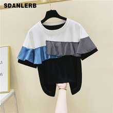 Female Summer Top Short Sleeve T Shirt Striped Ruffled Contrast Short Sleeve Cotton T-shirt Loose Tshirt Mujer Camisetas(China)