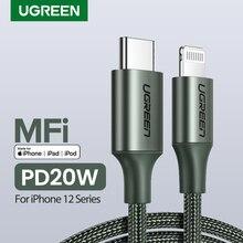 Ugreen Cable de datos de carga rápida para móvil, Cable USB C a Lightning para iPhone 12 mini Pro Max 8 PD 18W 20W, para Macbook