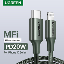 Ugreen MFi USB C yıldırım iPhone şarj kablosu için iPhone 12 mini Pro Max 8 PD 18W 20W hızlı şarj Data kablosu Macbook için