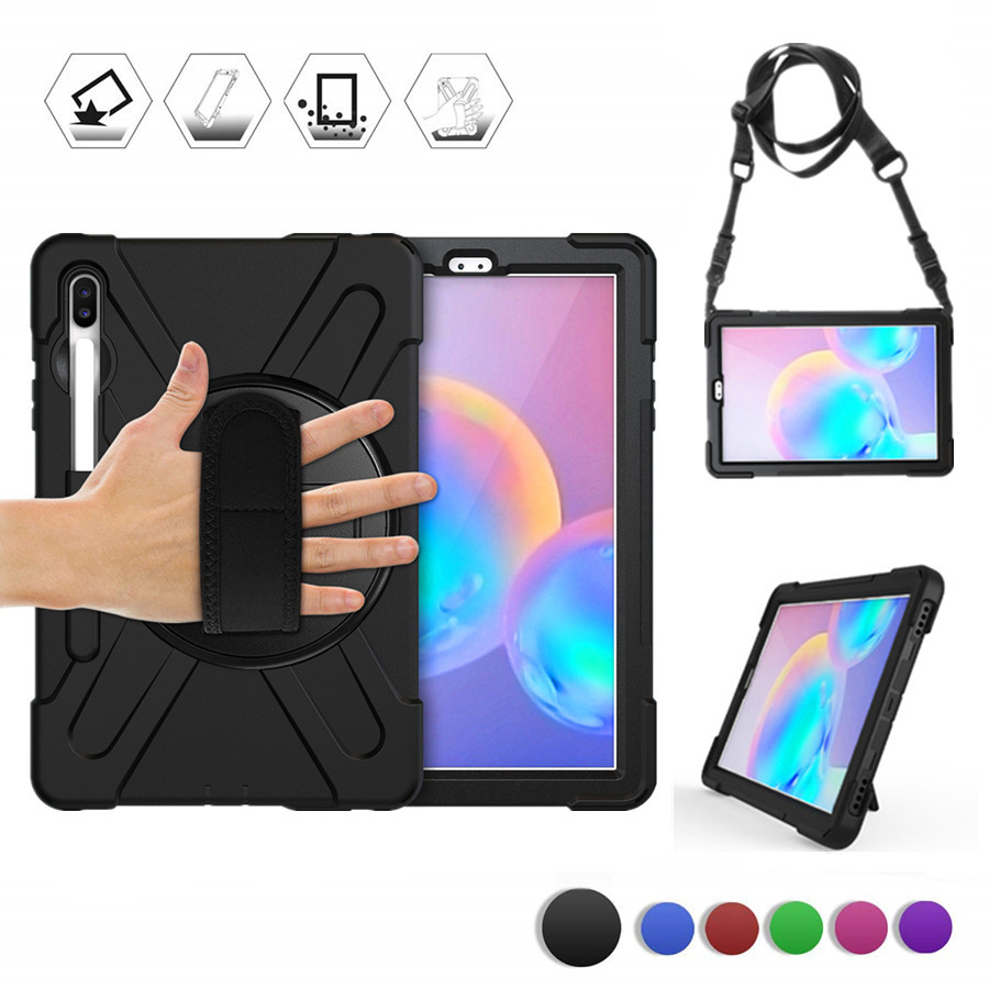 Case For Samsung Galaxy Tab S6 10.5 2019 SM-T860 SM-T865 Kids Safe Shockproof Heavy Duty Silicone Hard Hand Stand Holder+Strap