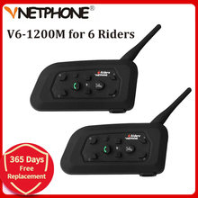 Vnetphone V6 1200M Interphone de Casque de Moto Bluetooth pour 6 Coureurs BT Sans Fil Étanche Casques D'interphonie MP3