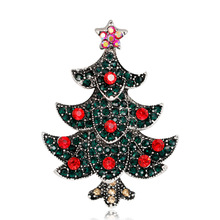 Fashion Christmas tree brooch ladies exquisite alloy diamond plated antique gold silver spot wholesale