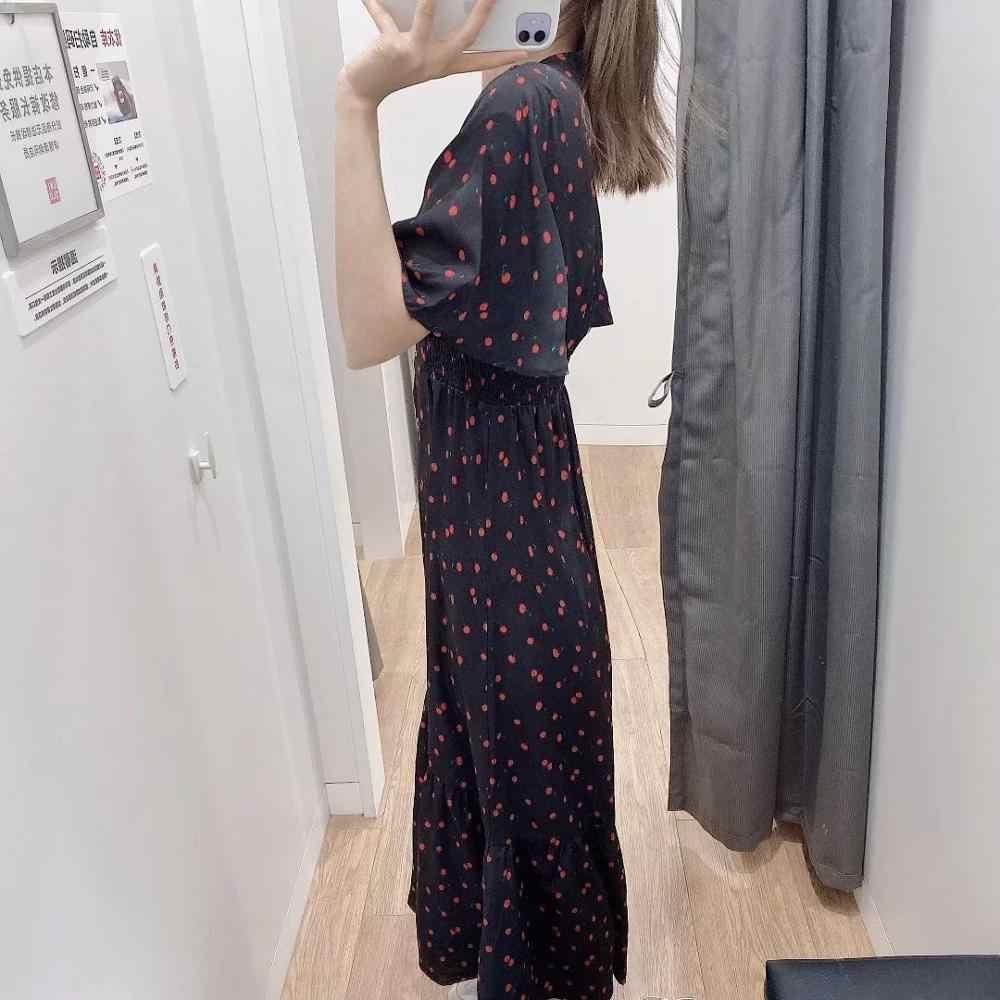 ZA 2020 yeni kadın elbise kırmızı kiraz desen pilili fırfır kollu V boyun bayanlar zarif meslek tarzı uzun elbise kadın giysileri