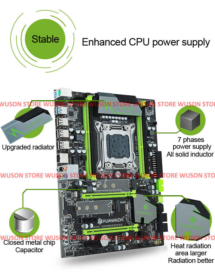 Desktop motherboard with M.2 slot NVMe SSD brand HUANAN ZHI X79 LGA2011 CPU Intel Xeon E5 2650 SR0KQ RAM (4*4G)16G DDR3 REG ECC