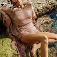 비록 Gossamer 비치 커버 섹시한 비키니 2020 새시 벨트 롱 비치 드레스 골드 튜닉 기모노 o 넥 수영복 여성 biquini