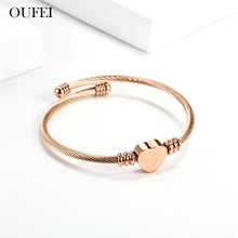 OUFEI Rose Gold Charms Heart love Bracelets For Women Cuff Adjustable Jewelry Accessories Mass Effect Bohemian