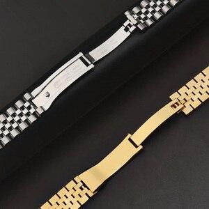 Image 5 - Mannen Vrouwen 13mm 17mm 20mm Merken Zilver Goud rvs Horlogebanden Strap Vervangen Voor DATEJUST ROL Horloge polsband Armband