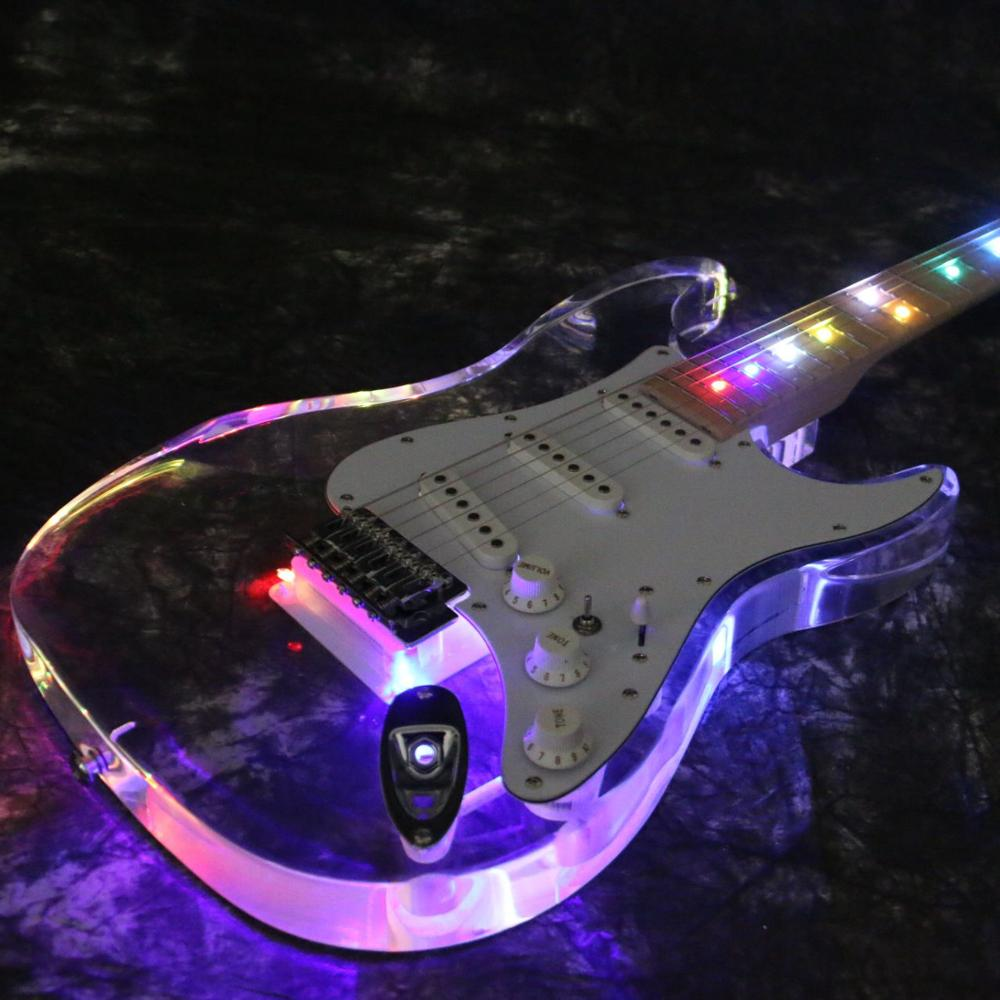Starshine LED Light Electric Guitar T-ED101 Fr Bridge H-S-H Pickups  Acrylic Body Crystal Guitar Colorful LED Guitar