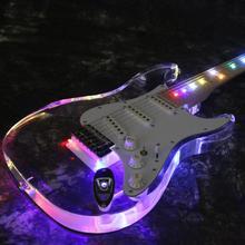 Starshine LED Light Electric Guitar T-ED101 fr Bridge H-S-H Pickups  Acrylic Body Crystal Colorful