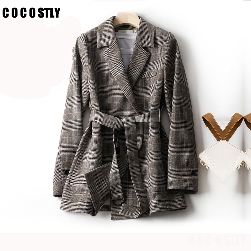 Women Lattice Blazer Autumn Winter Thick Jacket Suit Blazers Long Sleeve Office Work Coat Casual Jacket Plus Size