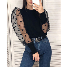 Women Ladies Summer Mesh Puff Long Sleeve Shirt Loose Casual Blouse Tops Elegant Turtleneck Dot Party Clubwear Soft Clothes fashion women s ladies long sleeve off shoulder shirt ruffle loose casual blouse summer tops