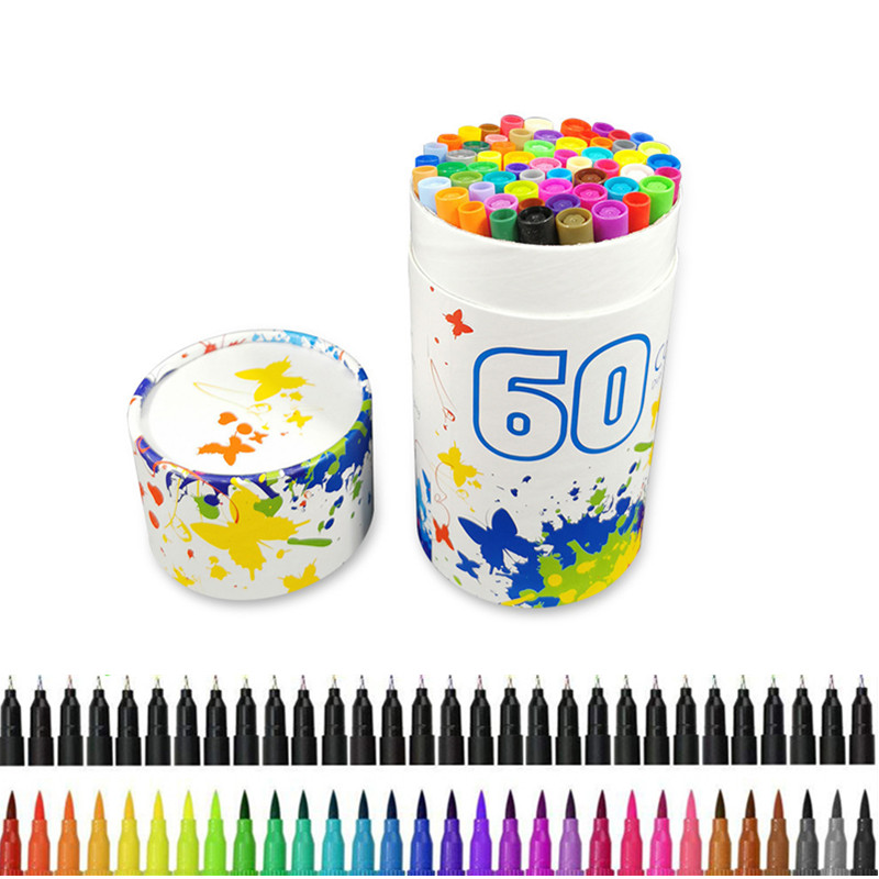 60 Pcs Watercolor Brush Markers Dual Tip Brush Marker Pens Fineliners Brush Pen Drawing Manga Sketching School Art Supplies|Art Markers| |  - title=