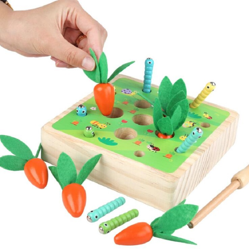 Montessori Pulling radish and catching insects cognition match game puzzle wooden Toys For Children Birthday Gift image