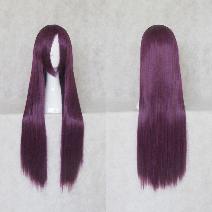 Senjougahara Hitagi Fujibayashi Kyou Busujima Saeko Cosplay Wigs High-temperature Fiber Purple Long Straight Hair +free Wig Cap