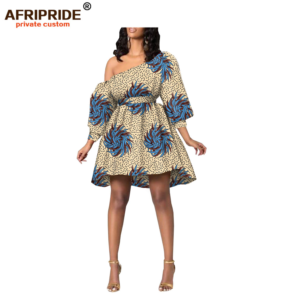 2019 robes africaines pour femmes sexy fête mariage grande taille mini robe demi manches dashiki tenue cire batik AFRIPRIDE A1925044