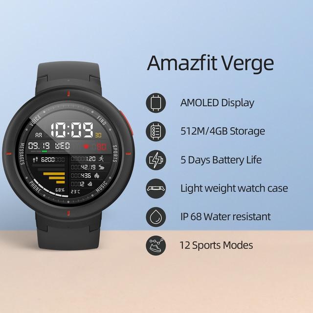Amazfit Verge Sport Smartwatch GPS Bluetooth Microphone Speaker Pedometer Message Push Heart Rate 6