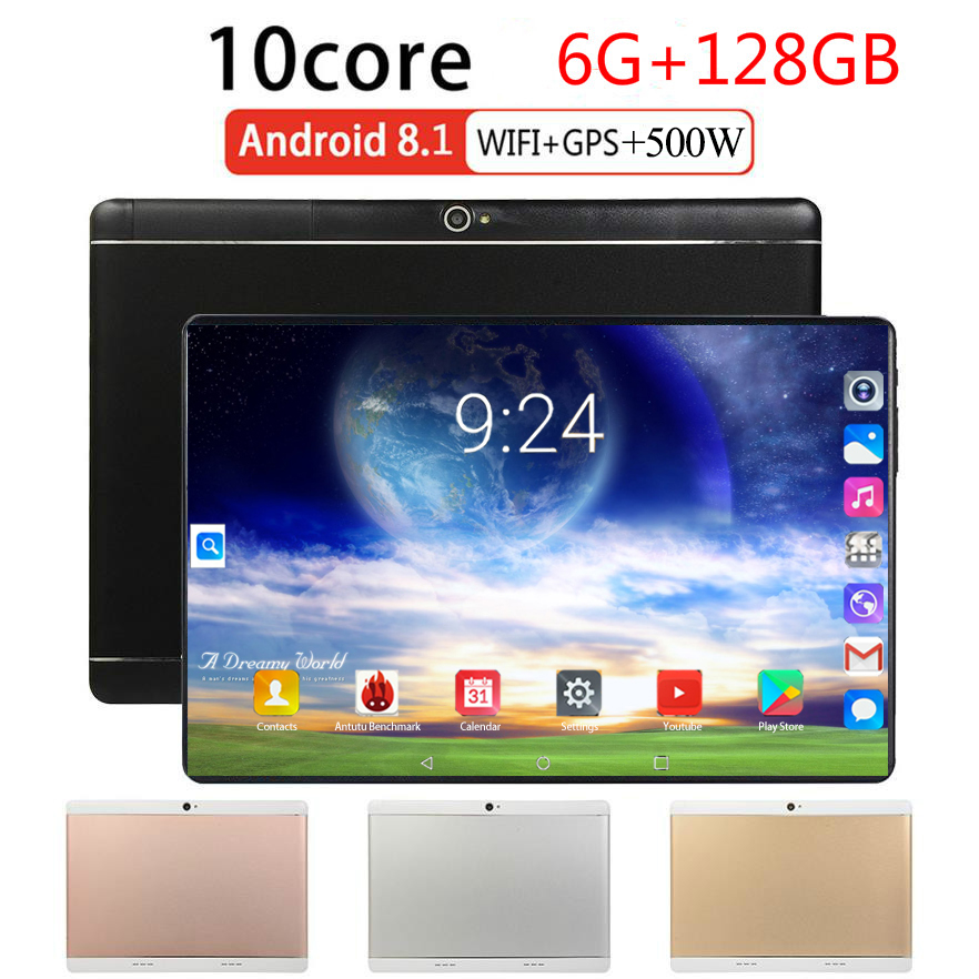 2020 Global Version Android 8.0 10 Inch Tablet Octa Core 6GB RAM 128GB ROM 1280*800 Dual SIM Cards Tablet PC 10.1 Gaming Tablet