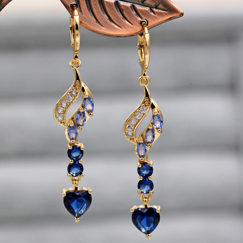 Ha2eb1e2d60414643aed394b405d89bf9F - Trendy Vintage Drop Earrings For Women Gold Filled  Red Green Pink Lavender Zircon Earrings Gold  Earring Wedding  Jewelry