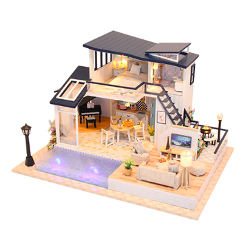 Creative DIY cottage Children Adult Miniature Doll house Wooden Kits custom toy Mermaid Tribe building dollhouse birthday gift